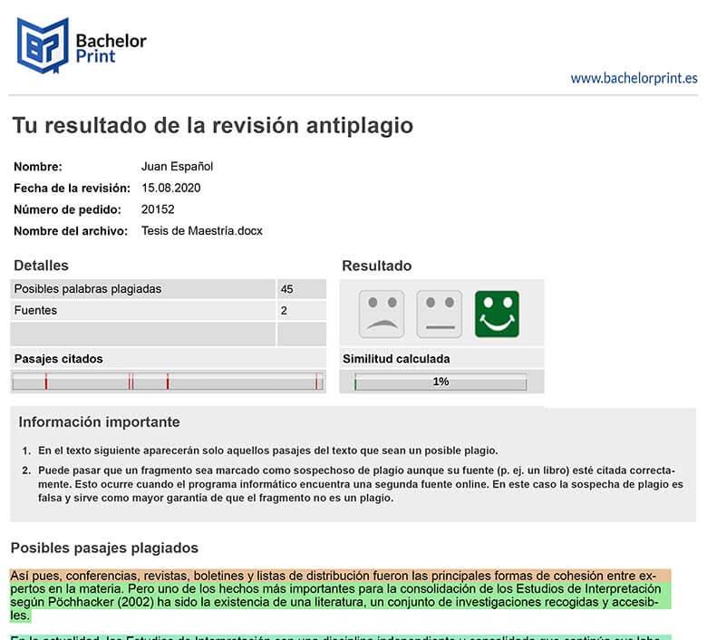Ejemplo informe de plagio con el antiplagio online